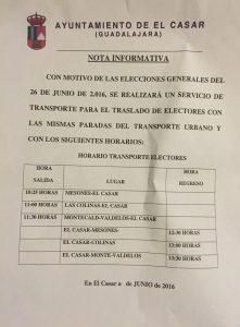 transporte elecciones 26 junio